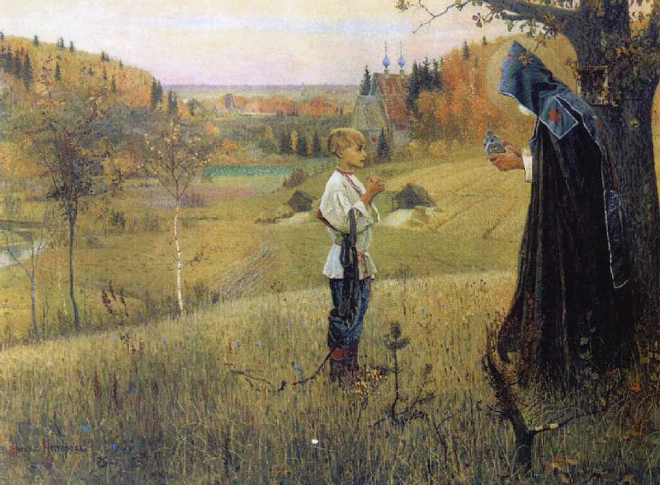 Преподобный Сергий Радонежский. Явление Ангела отроку Варфоломею - Сергию Радонежскому.