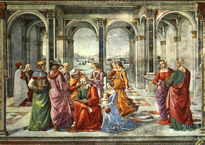 Рождество Пророка Предтечи и Крестителя Господня Иоанна. Доменико Гирландайо. Захария дает имя своему сыну (Флоренция, Капелла Торнабуони,1486-90 гг).