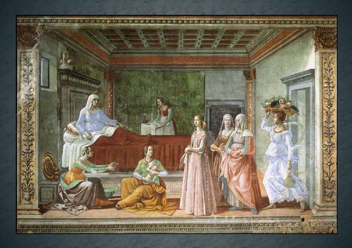 Рождество Пророка Предтечи и Крестителя Господня Иоанна. Доменико Гирландайо. Рождество Иоанна Предтечи. (Флоренция, Капелла Торнабуони,1486-90 гг).