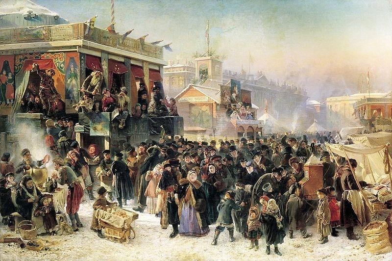 Народное гулянье во время Масленицы на Адмиралтейской площади в Петербурге». К. Е. Маковский, 1869