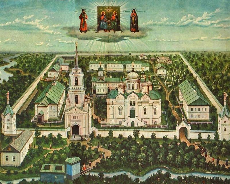 Общий вид Тихоновского общежительного мужского монастыря. Литография 1915 года