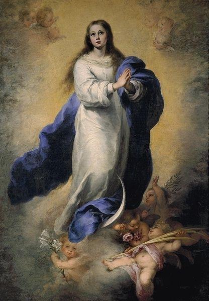 «Непорочное зачатие», картина Мурильо. Иконография включает изображение Марии, парящей в небесах на полумесяце