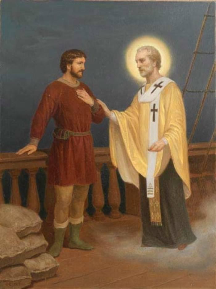 Святитель Николай чудотворец. Явление купцу с просьбой о помощи голодающим